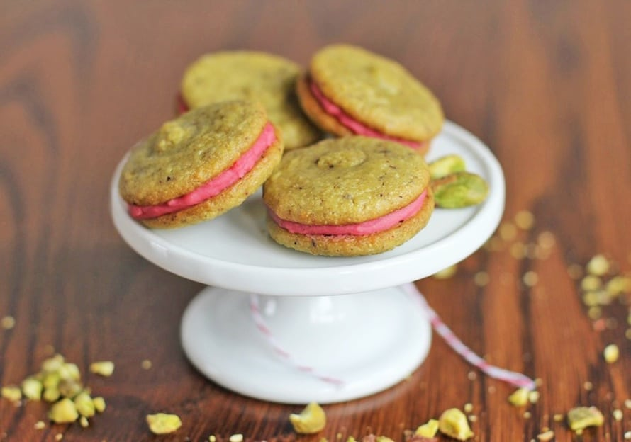 "Healthy Pistachio Macarons with Strawberry ""Buttercream"" Filling"