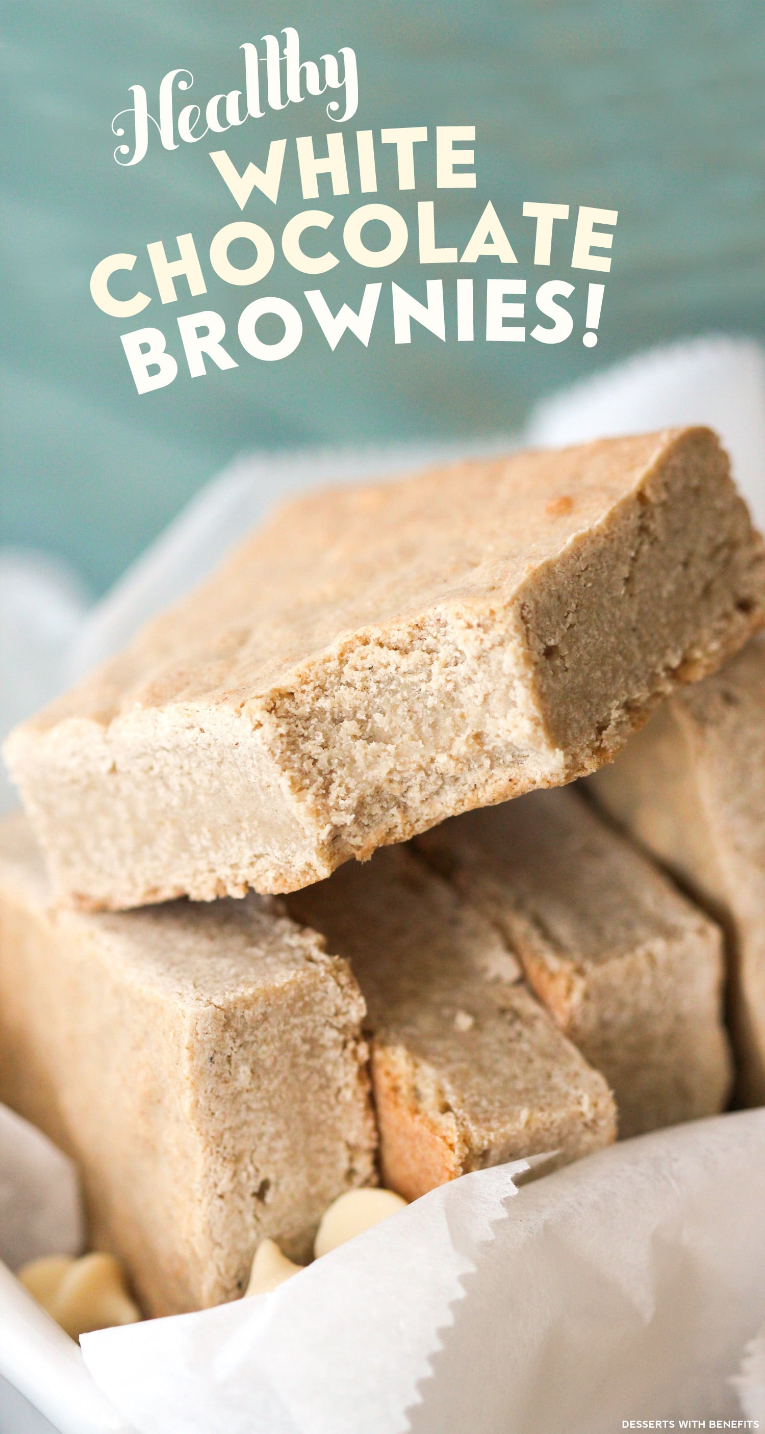 Healthy White Chocolate Brownies (sugar free, gluten free, dairy free, eggless, vegan) - Healthy Dessert Recipes at Desserts with Benefits