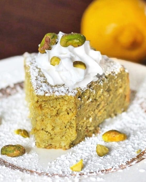 This Healthy Whole Lemon Pistachio Cake is sweet, moist, delicious, and sophisticated. It doesn't taste sugar free, gluten free, and high protein one bit!