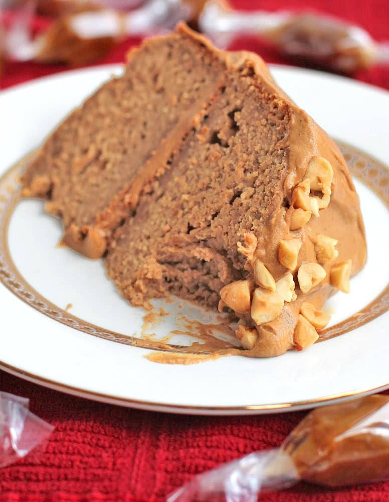 This Healthy Peanut Butter Banana Cake is topped with a Caramel Frosting, and it's totally guilt free, refined sugar free, high protein, and gluten free!