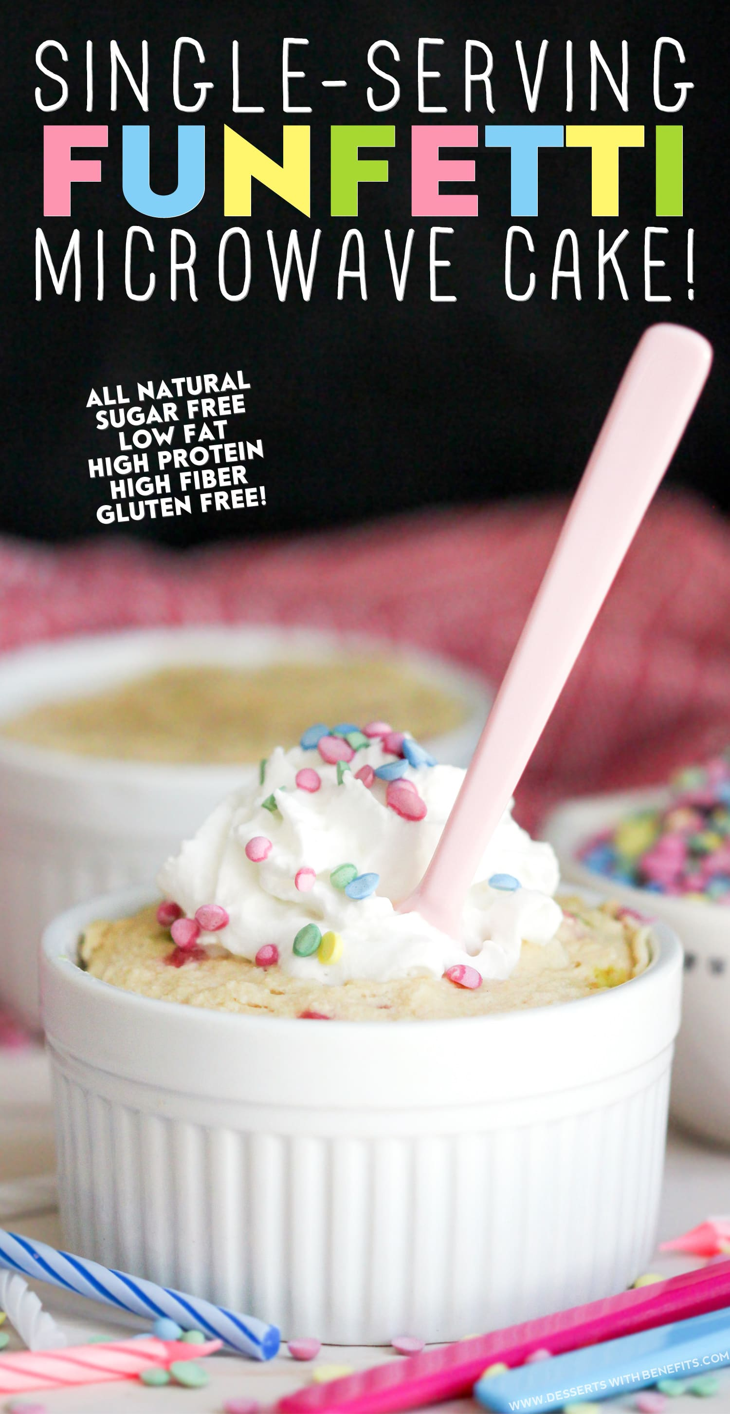 Healthy Single-Serving Funfetti Microwave Cake (all natural, sugar free, low fat, high protein, high fiber and gluten free, with vegan option!) - Healthy Dessert Recipes at Desserts with Benefits