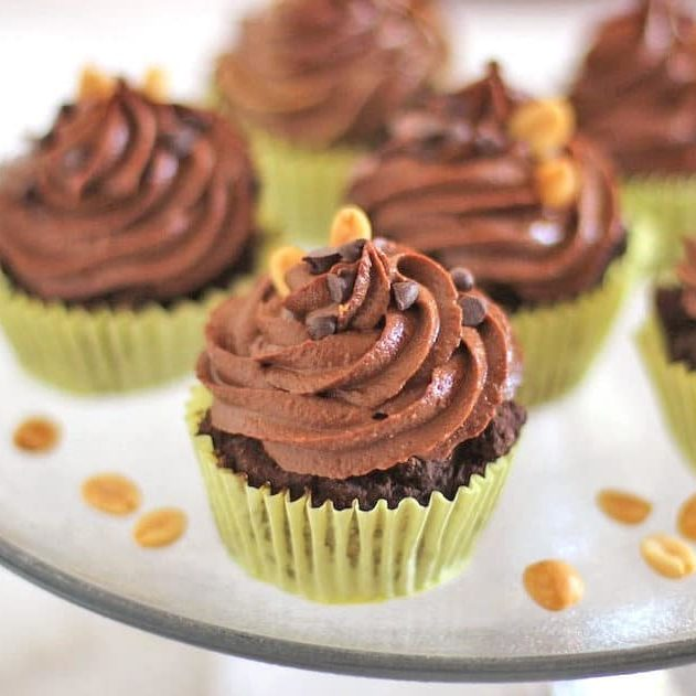Healthy Reese's Cupcakes (Gluten Free Chocolate Cupcakes with Peanut Butter Filling and Chocolate Peanut Butter Frosting)