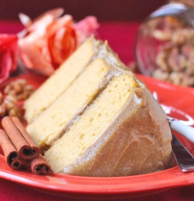 Healthy Pumpkin Cake with Butterscotch Frosting (gluten free, sugar free, low fat, high protein)