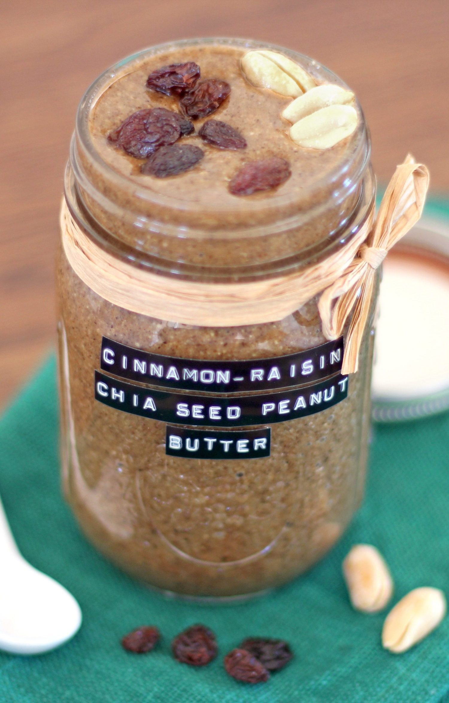 Healthy Cinnamon Raisin Chia Seed Peanut Butter (refined sugar free, gluten free, dairy free, vegan) - Healthy Dessert Recipes at Desserts with Benefits