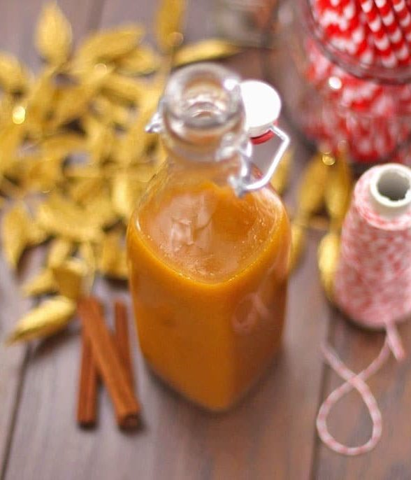 This Healthy Butterscotch Pumpkin Spice Syrup is so delicious you'd never know it's fat free, sugar free, and low carb, with just 2 calories per tablespoon! -- Healthy Dessert Recipes at the Desserts With Benefits Blog