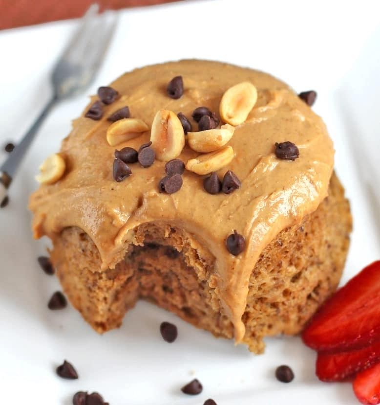 You can make this Healthy Single-Serving Peanut Butter Microwave Cake with Peanut Butter Frosting in 5 minutes, and it doesn't taste healthy one bit!