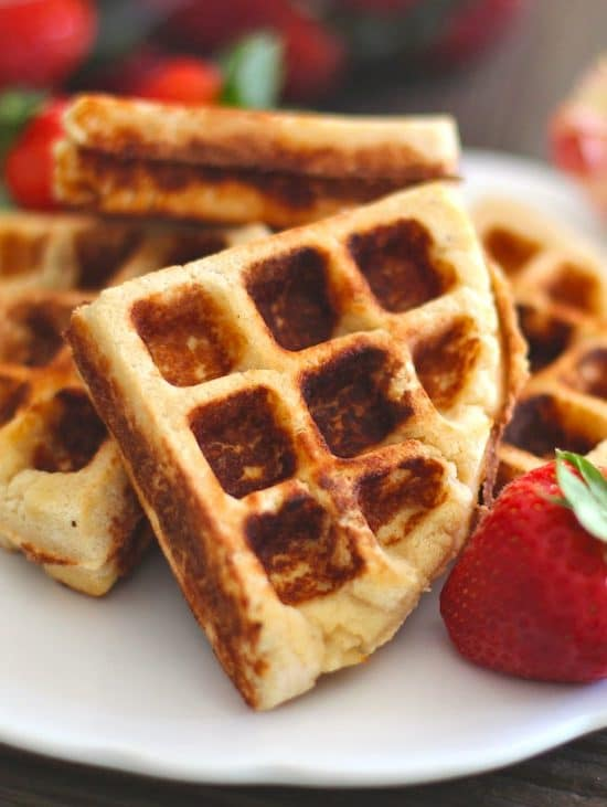 These Healthy Gluten-Free Waffles are SUPER soft, fluffy, moist, and sweet! You'd never know this recipe is sugar free, low carb, low fat, and high protein.