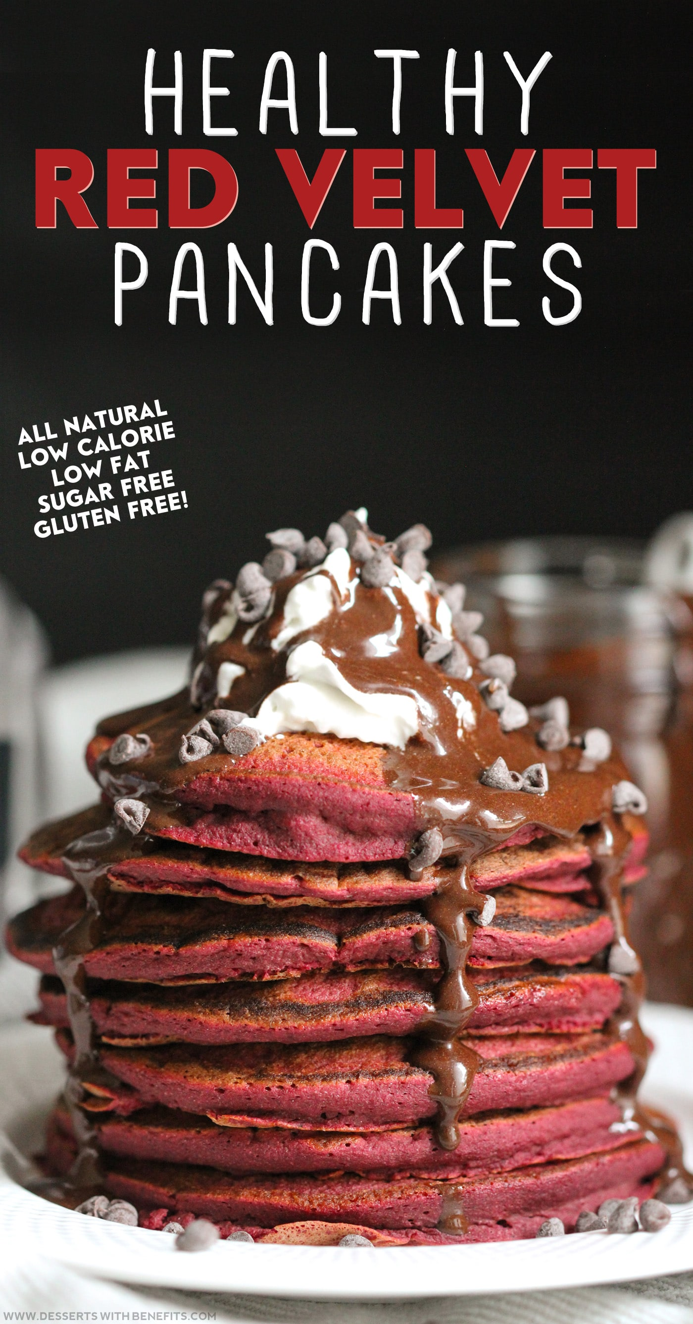 Healthy Red Velvet Pancakes recipe – the softest, fluffiest, sweetest guilt-free pancakes in all the land! (refined sugar free, low fat, high fiber, high protein, gluten free, and dairy free) -- Healthy Dessert Recipes at Desserts with Benefits