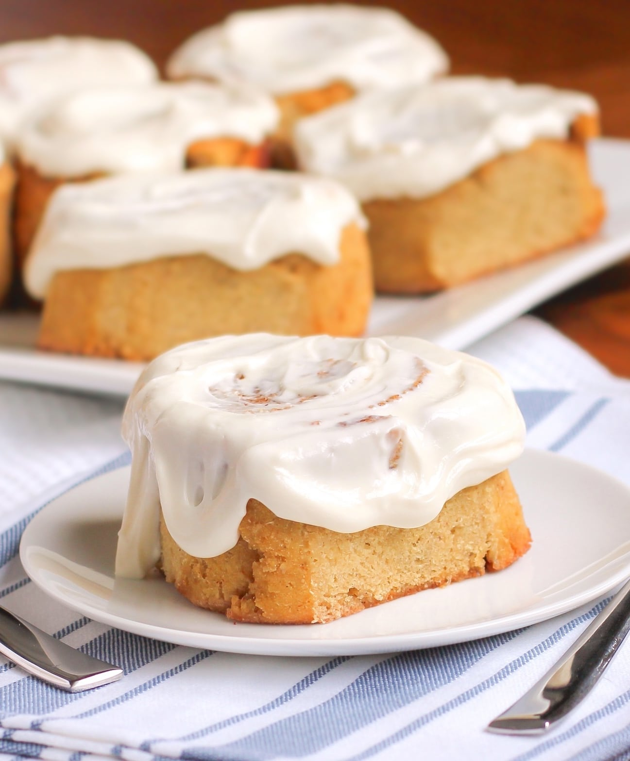MAGIC -- that's what these Healthy Cinnamon Rolls are!  These pillowy treats are sweet, buttery and tender, you'd never know they're all natural, refined sugar free, low carb, reduced fat, high fiber, high protein and gluten free! These gluten free cinnamon rolls are one helluva baking miracle.
