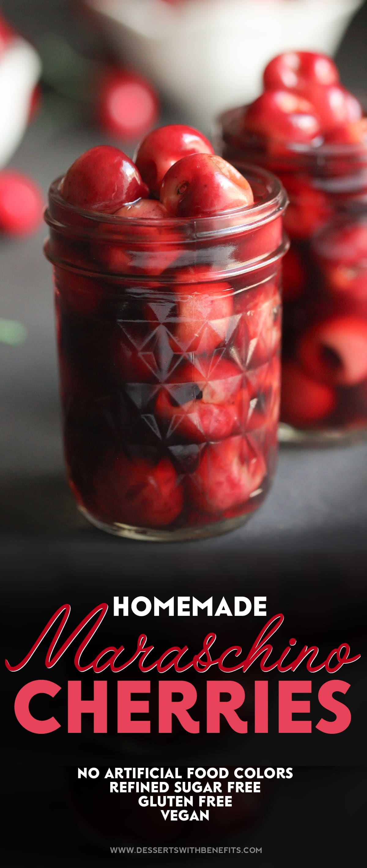 YES, you can make Maraschino Cherries at HOME! Here's a recipe for deliciously Healthy Homemade Maraschino Cherries, made all natural, fat free, refined sugar free, gluten free, and vegan -- Healthy Dessert Recipes at Desserts with Benefits