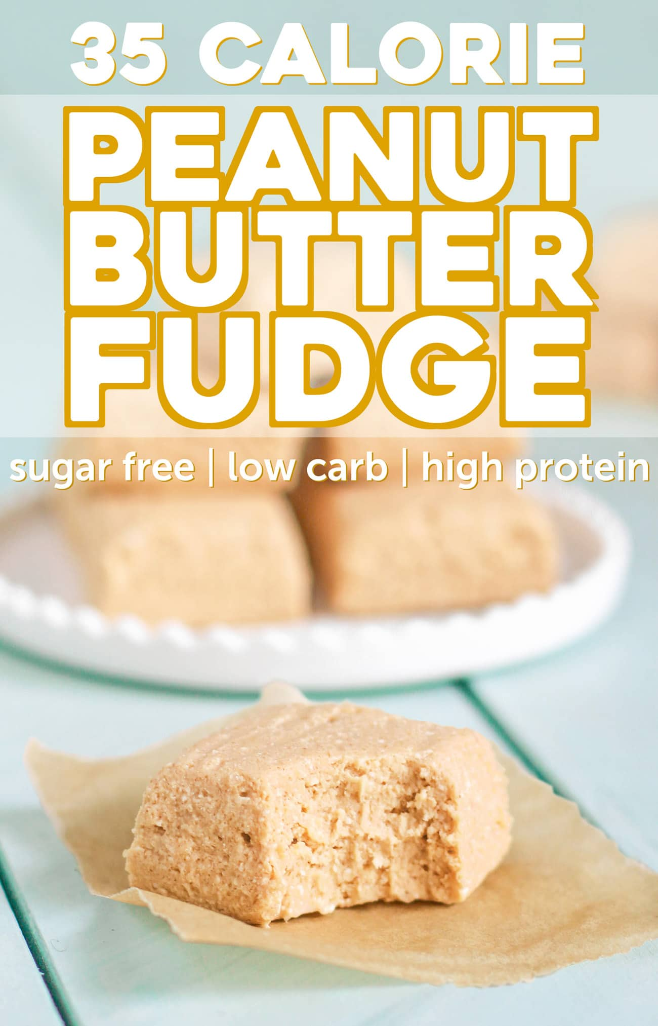 This 35-calorie Peanut Butter Fudge is rich and sweet, yet secretly healthy with only 1g of fat plus 4.5g of protein! No need for the butter, sugar, and corn syrup. You'd never know it's sugar free, low carb, keto-friendly, low fat, and high protein!