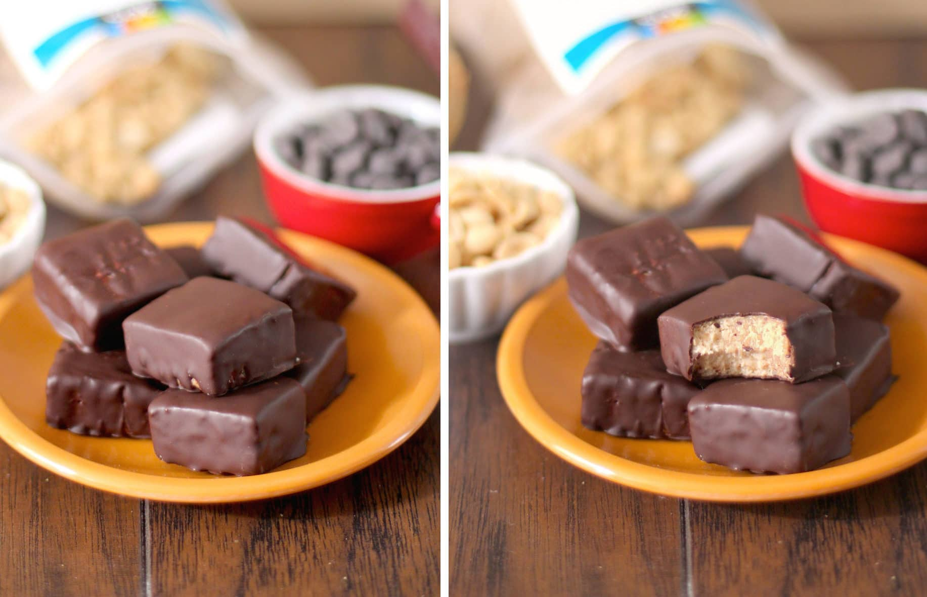 This Healthy Reese's Fudge is packed with peanut butter and chocolate flavor, you'd never know it's low sugar, low fat, high protein, and gluten free! -- Healthy Dessert Recipes at The Desserts With Benefits Blog