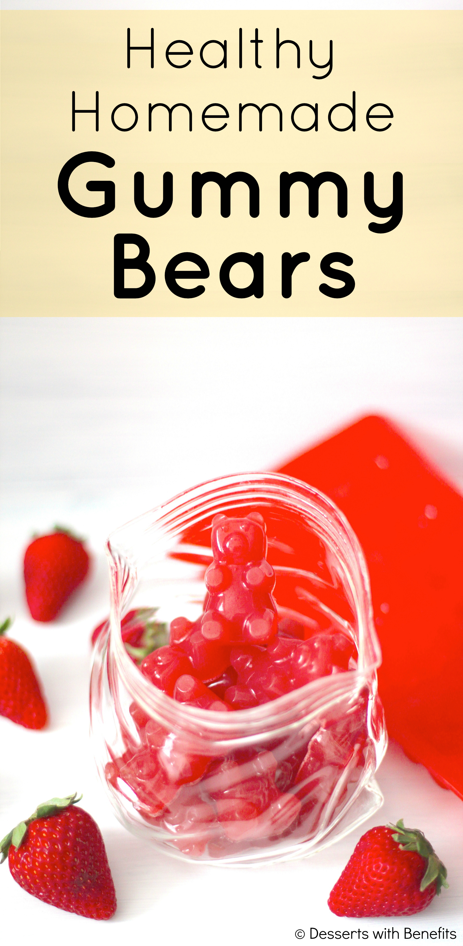 Healthy Homemade Strawberry Gummy Bears recipe (refined sugar free, fat free, low carb, gluten free) - Healthy Dessert Recipes at Desserts with Benefits