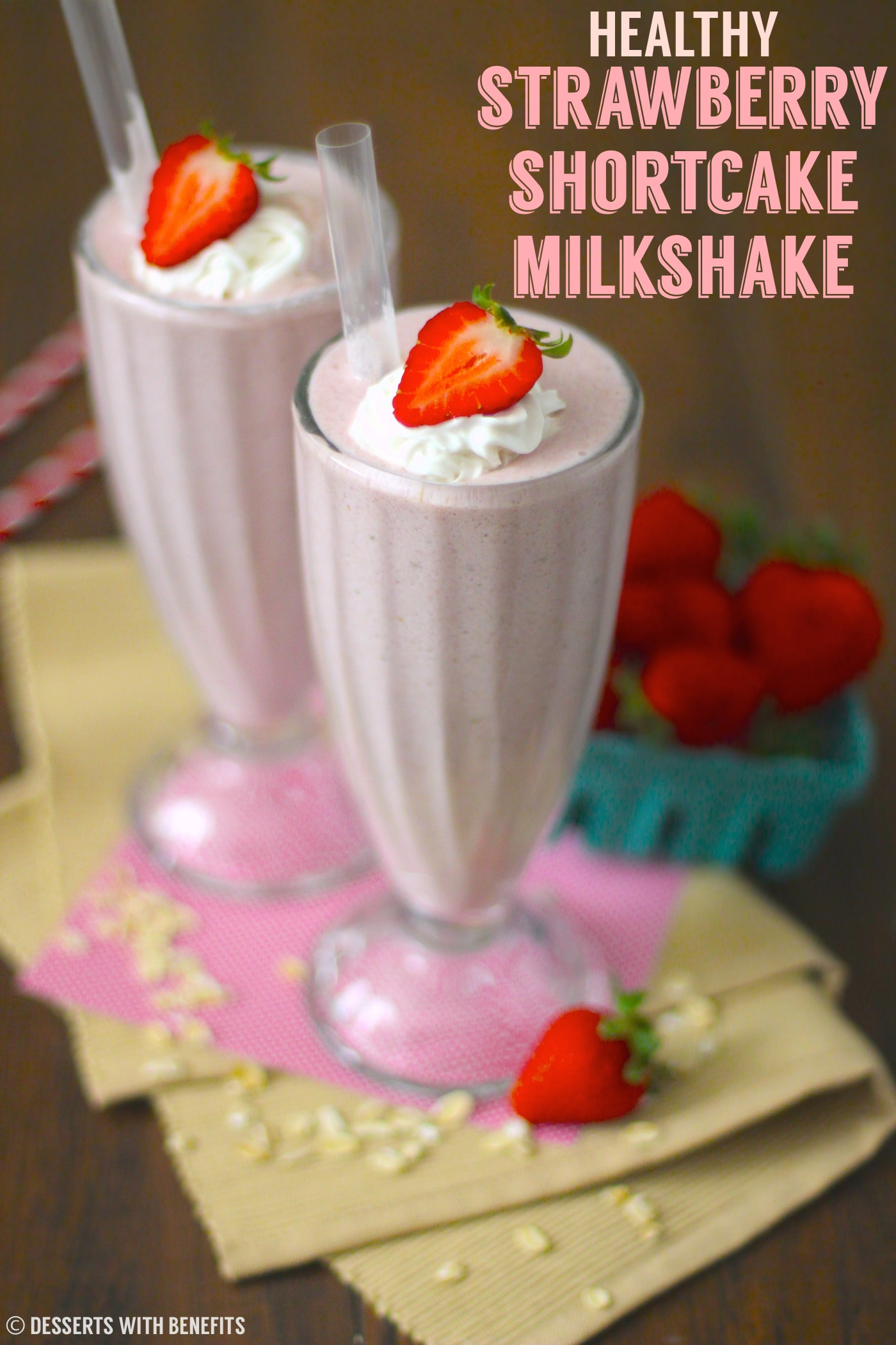 This Healthy Strawberry Shortcake Milkshake is so sweet and creamy, you'd never know it's refined sugar free, low fat, low calorie, and high protein!
