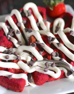Healthy Low Carb and Gluten Free Red Velvet Waffles with Cream Cheese Frosting (sugar free, low carb, low fat, high fiber, high protein, gluten free) - Healthy Dessert Recipes at Desserts with Benefits