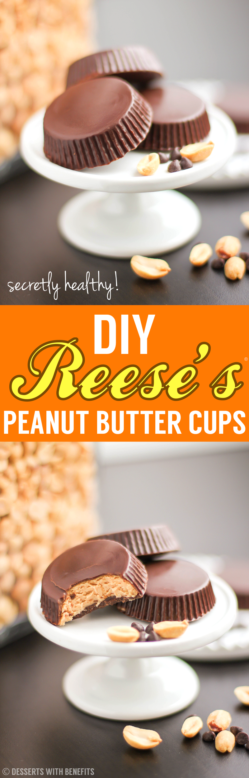 Healthy Homemade Peanut Butter Cups recipe | DIY Reese's (refined sugar free, low carb, high protein, high fiber, gluten free) - Healthy Dessert Recipes at Desserts with Benefits