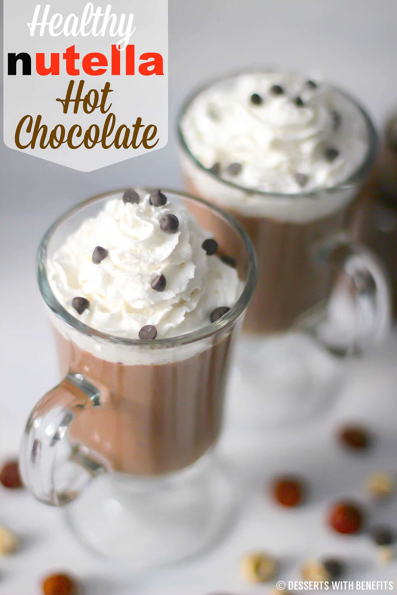 This 4-ingredient Healthy Nutella Hot Chocolate is sweet, rich, and comforting, you'd never know it's sugar free, low carb, paleo, keto-friendly, dairy free and vegan!