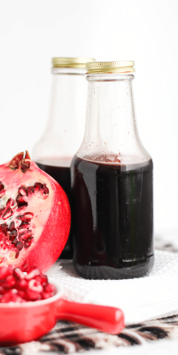 This Healthy Homemade Grenadine (aka pomegranate bar syrup) is made without the refined sugar, corn syrup, artificial colorings, and artificial flavorings!