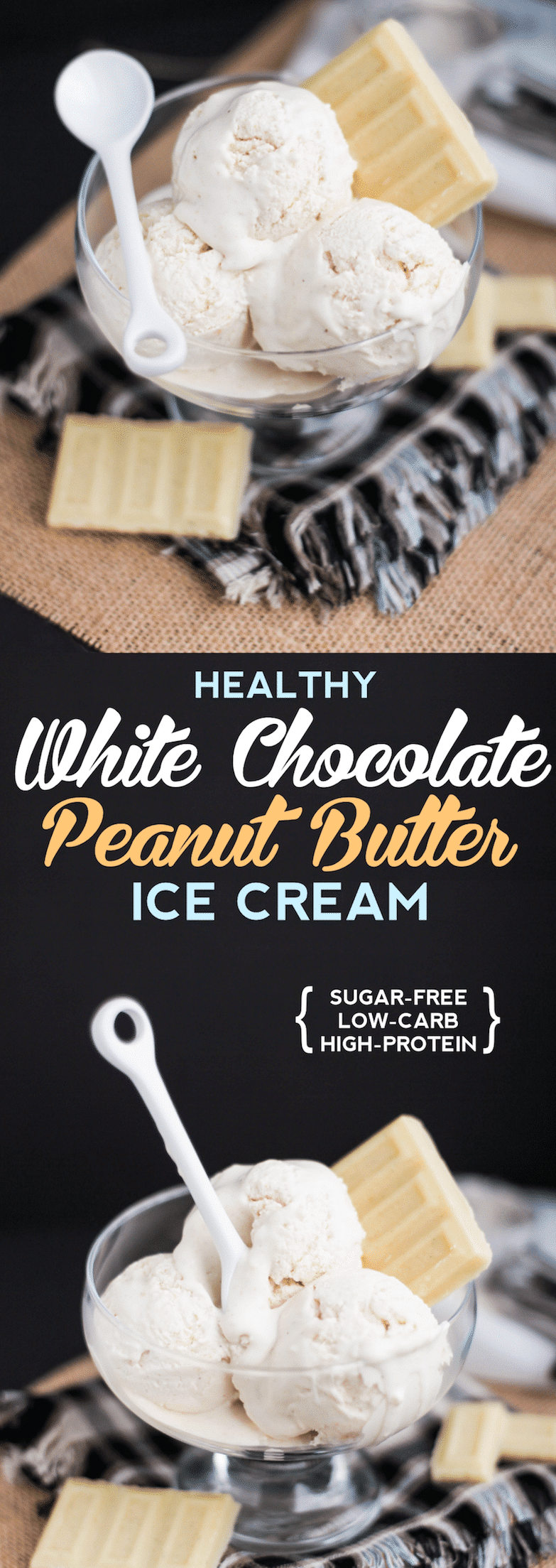 Healthy White Chocolate Peanut Butter Ice Cream recipe (sugar free, low carb, high protein) - Desserts with Benefits