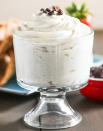 Super easy HEALTHY Cannoli Dip! Get all the flavor of that rich and creamy cannoli filling with this sweet and satisfying dip. Serve with graham crackers, animal crackers, strawberries, sliced bananas, or spoons alone. You'd never know this is sugar free, low carb, low fat, high protein, and gluten free! Healthy Dessert Recipes at the Desserts With Benefits Blog (www.DessertsWithBenefits.com)