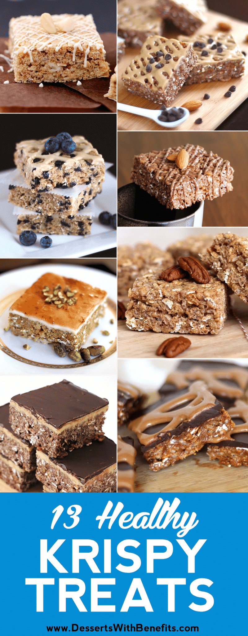 13 Healthy Krispy Treats Recipes (no bake, gluten free, refined sugar free, high protein) - Desserts with Benefits