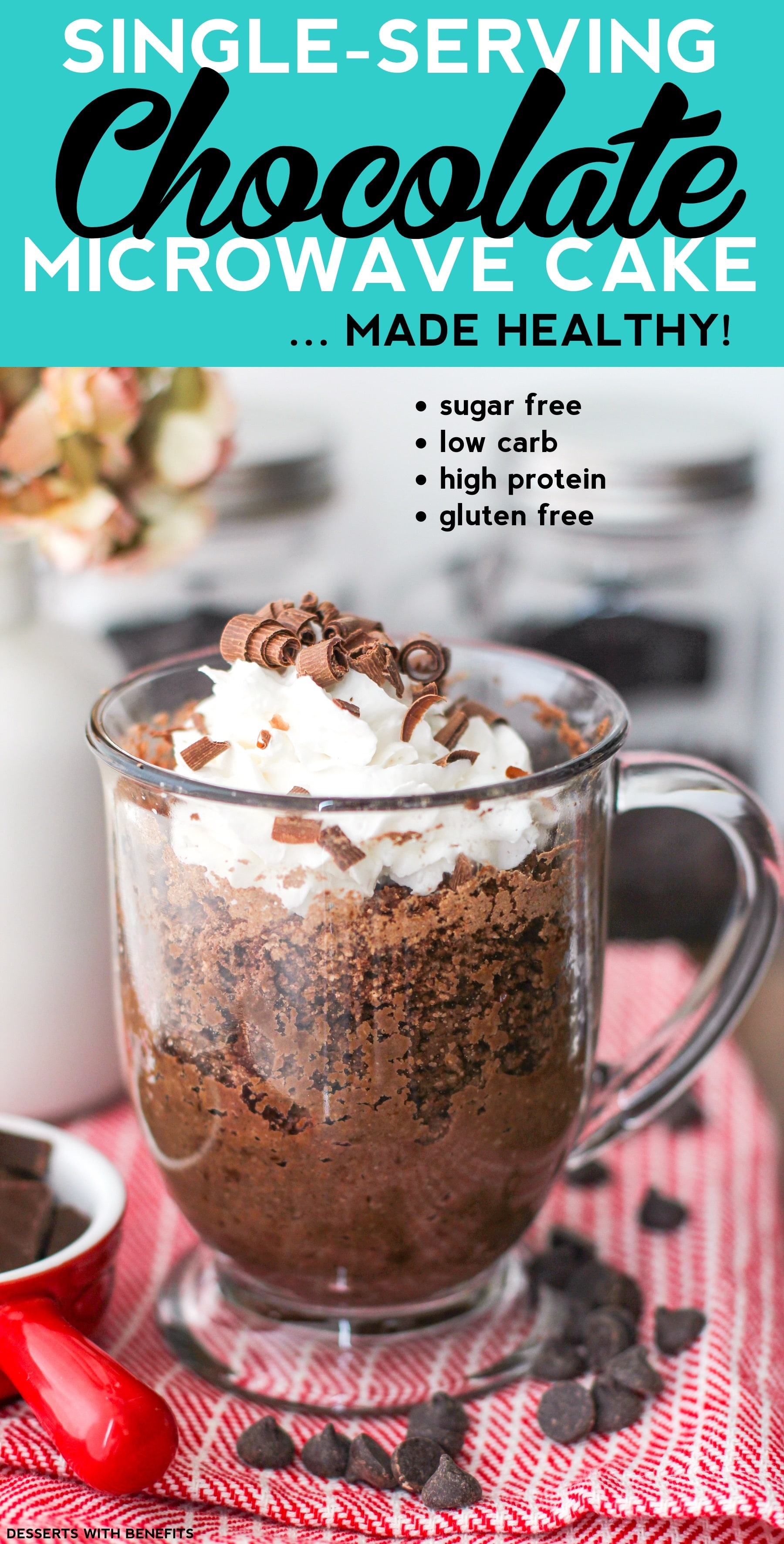Healthy Single-Serving Chocolate Microwave Cake (refined sugar free, low carb, high protein, high fiber, gluten free, vegan) - Healthy Dessert Recipes at Desserts with Benefits
