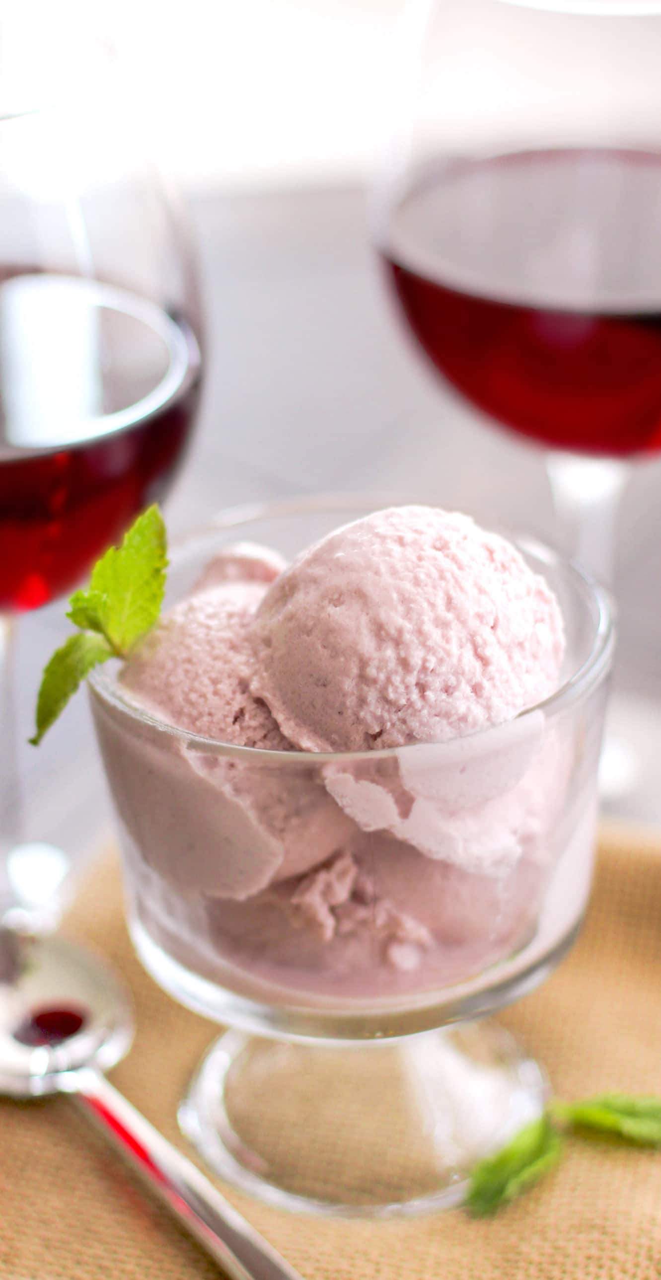 Healthy Red Wine Ice Cream (no sugar added, high protein) - Healthy Dessert Recipes at Desserts with Benefits