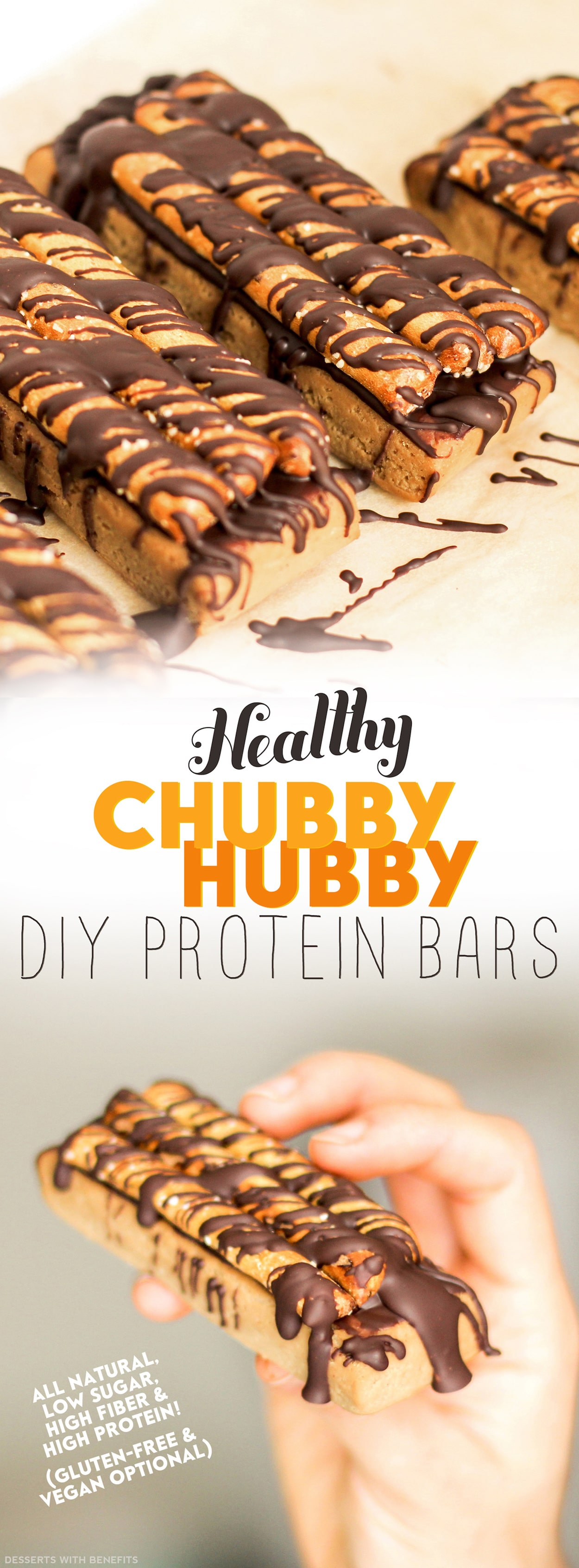 Unlike Ben & Jerry's Chubby Hubby ice cream, these Healthy Chubby Hubby DIY Protein Bars are low in sugar, high in protein and high in fiber! They're easy to make, totally craving-worthy, and 100% healthy. Indulge in this peanut butter-chocolate-pretzel combo, guilt-free!