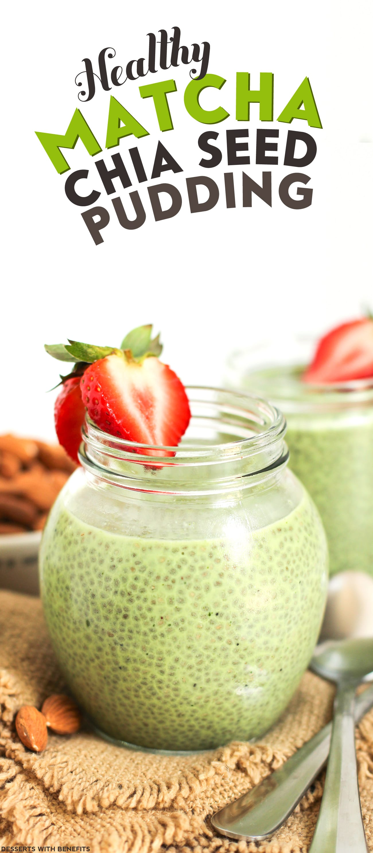 Healthy Matcha Green Tea Chia Seed Pudding recipe (raw, refined sugar free, low carb, high fiber, gluten free, dairy free, vegan) - Healthy Dessert Recipes at Desserts with Benefits