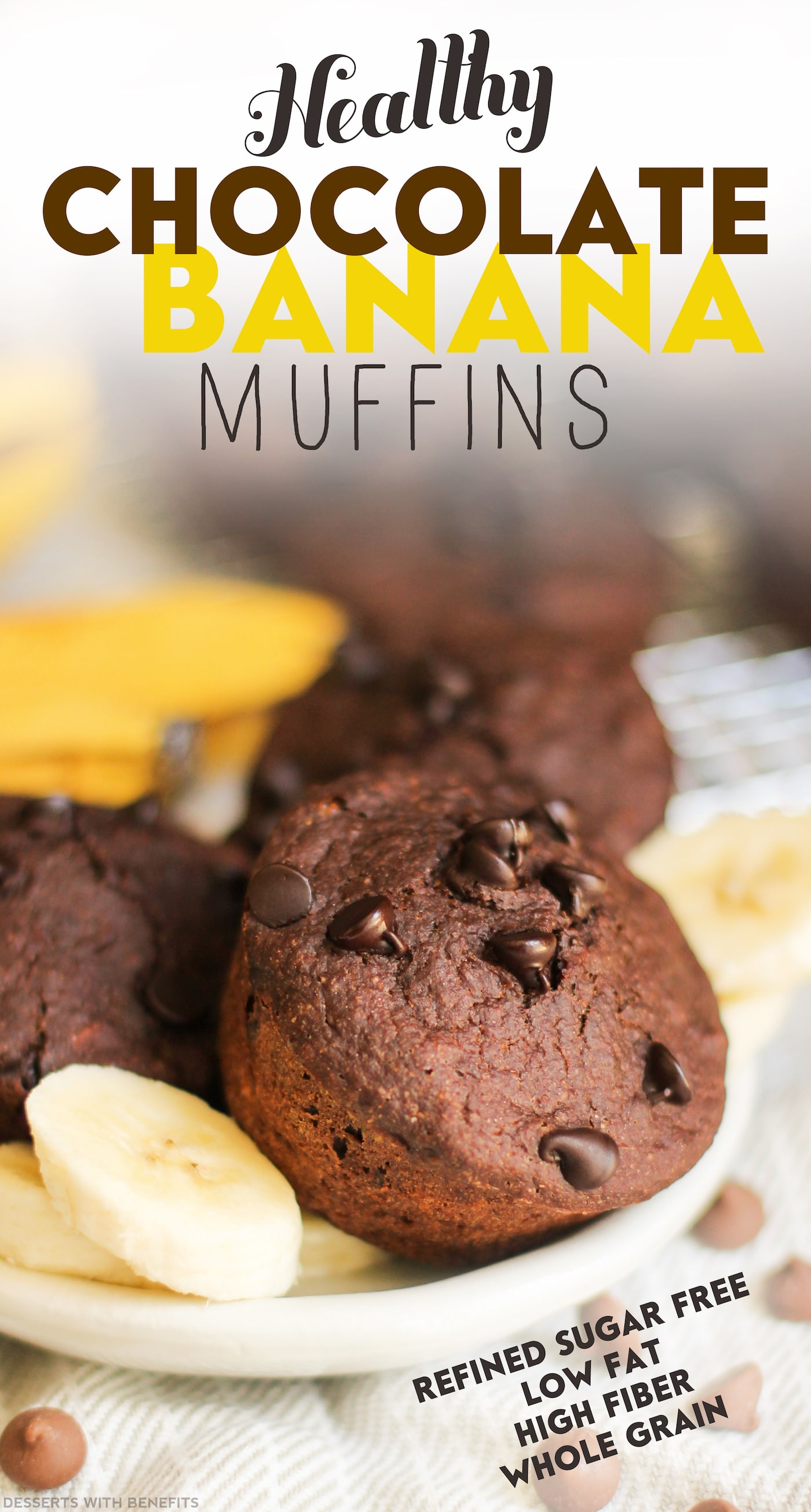 Healthy Chocolate Banana Muffins (refined sugar free, low fat, high fiber) - Healthy Dessert Recipes at Desserts with Benefits