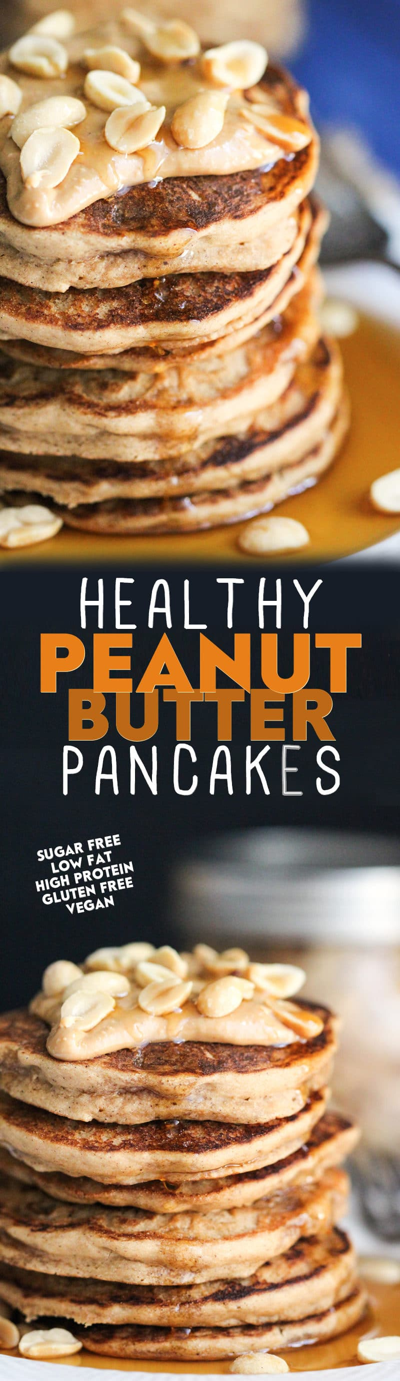 Healthy Peanut Butter Pancakes recipe (sugar free, low fat, high protein, high fiber, gluten free, dairy free, vegan) - Healthy Dessert Recipes at Desserts with Benefits