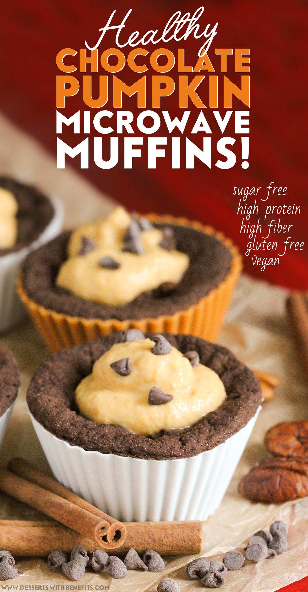 Healthy Chocolate Pumpkin Microwave Muffins (refined sugar free, high protein, high fiber, gluten free, dairy free, vegan) - Healthy Dessert Recipes at Desserts with Benefits