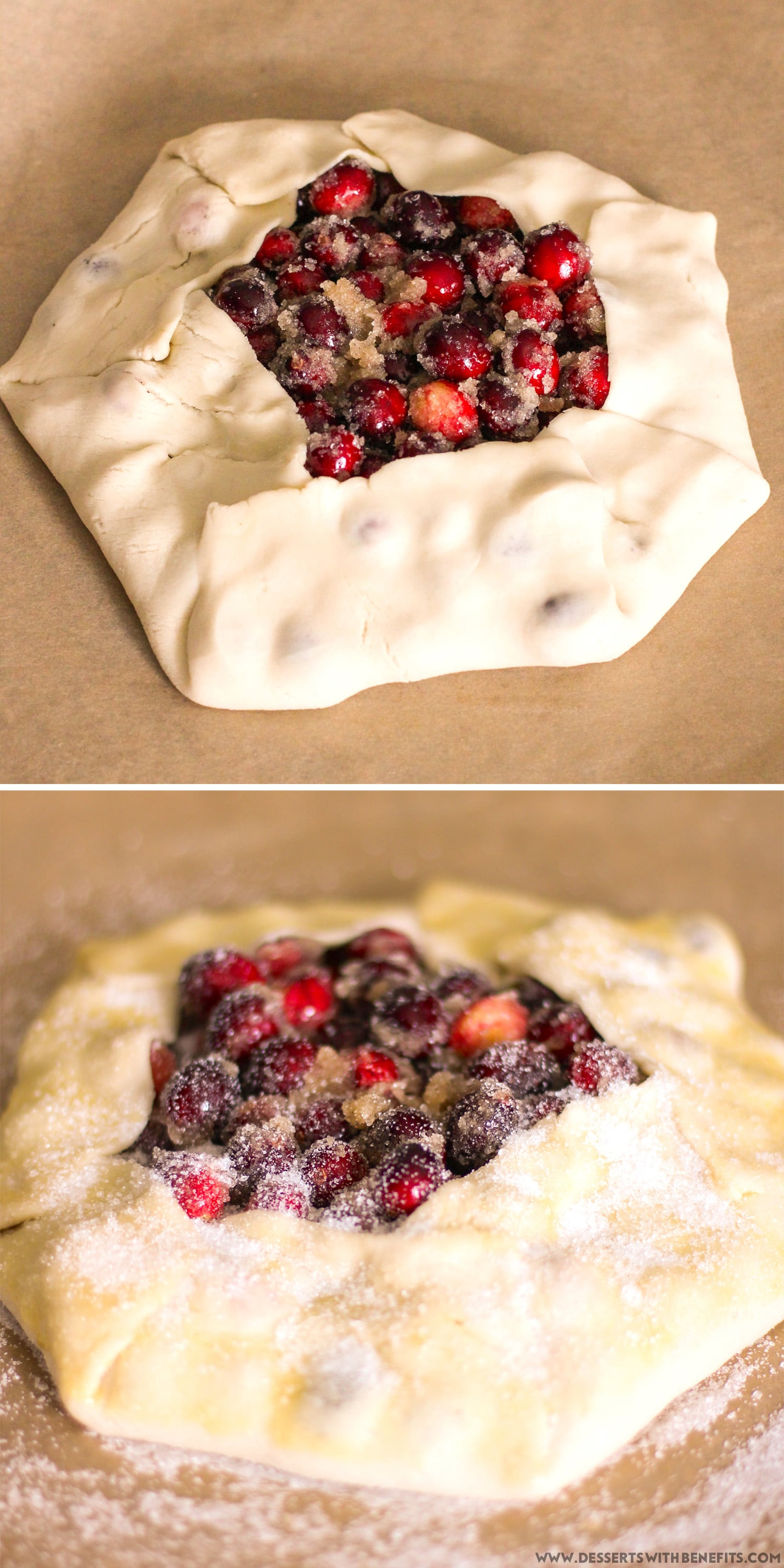 How to Make the World's EASIEST Galette! Quick and Lazy Guilt-Free Cranberry Galette Recipe (low calorie, low fat, low sugar) - Healthy Dessert Recipes at Desserts with Benefits
