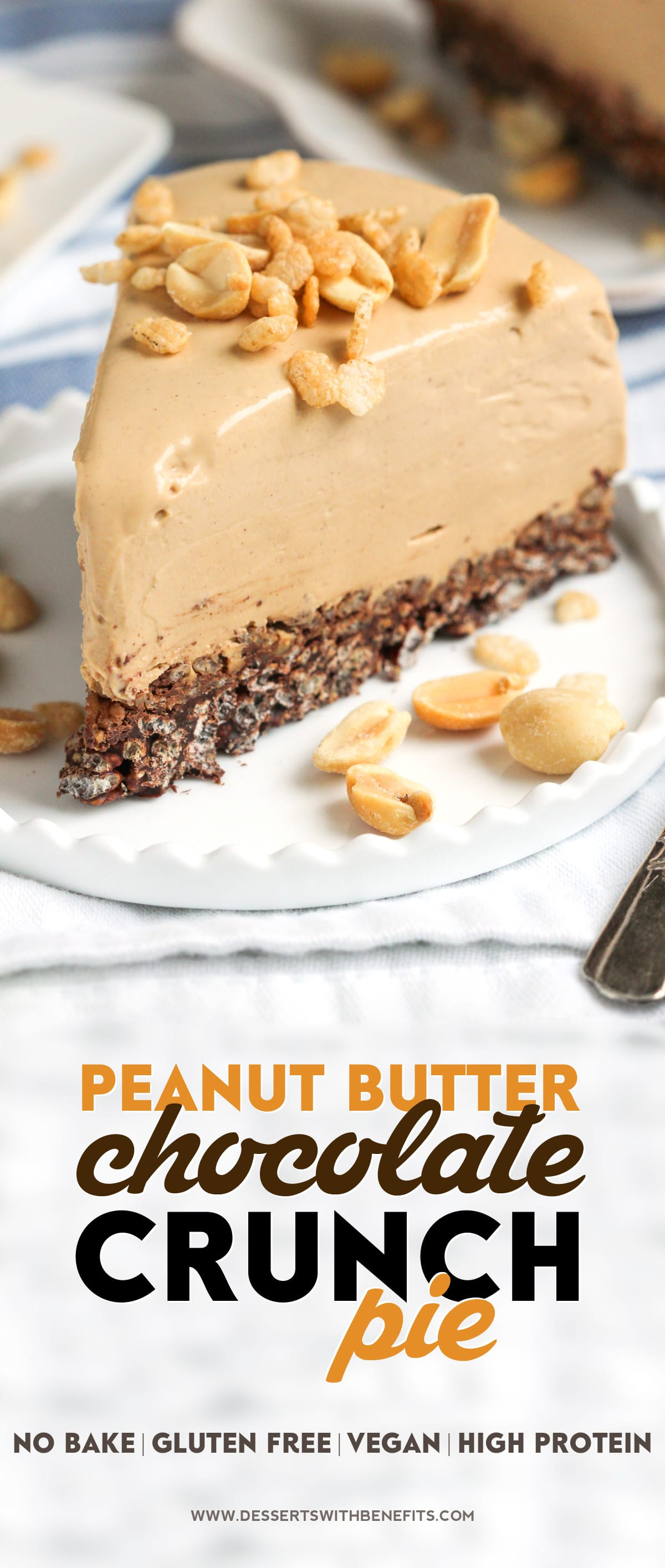 Healthy Peanut Butter Chocolate Crunch Pie (no bake, low sugar, high protein, gluten free, dairy free, vegan)