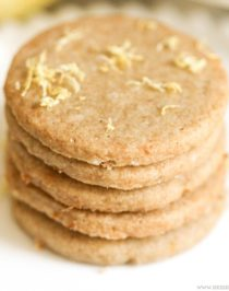 Healthy Lemon Shortbread Cookies (sugar free, gluten free, dairy free, vegan)