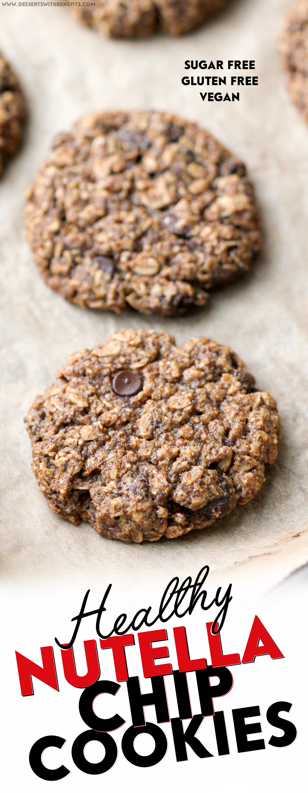These secretly Healthy Nutella Chip Oatmeal Cookies are sweet, chewy, and addicting, yet refined sugar free, gluten free, dairy free, and vegan! Healthy Dessert Recipes at Desserts with Benefits