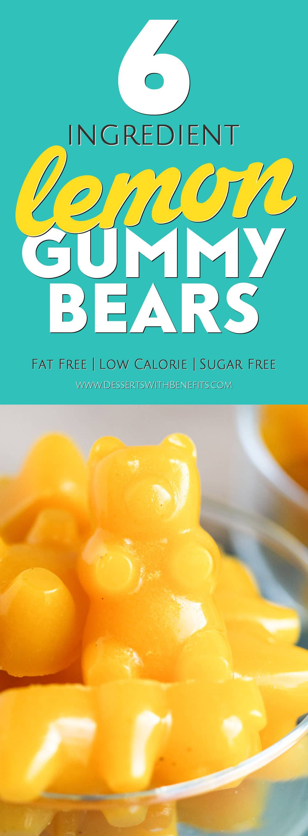 These Healthy Homemade Lemon Gummy Bears taste EVEN BETTER than the storebought version – they're chewy and gummy, tart and sweet, and totally guilt-free. This easy DIY recipe is made without refined sugar, high fructose corn syrup, and preservatives! -- Healthy Dessert Recipes with sugar free, low calorie, low fat, high protein, gluten free, and dairy free options at the Desserts With Benefits Blog (www.DessertsWithBenefits.com)