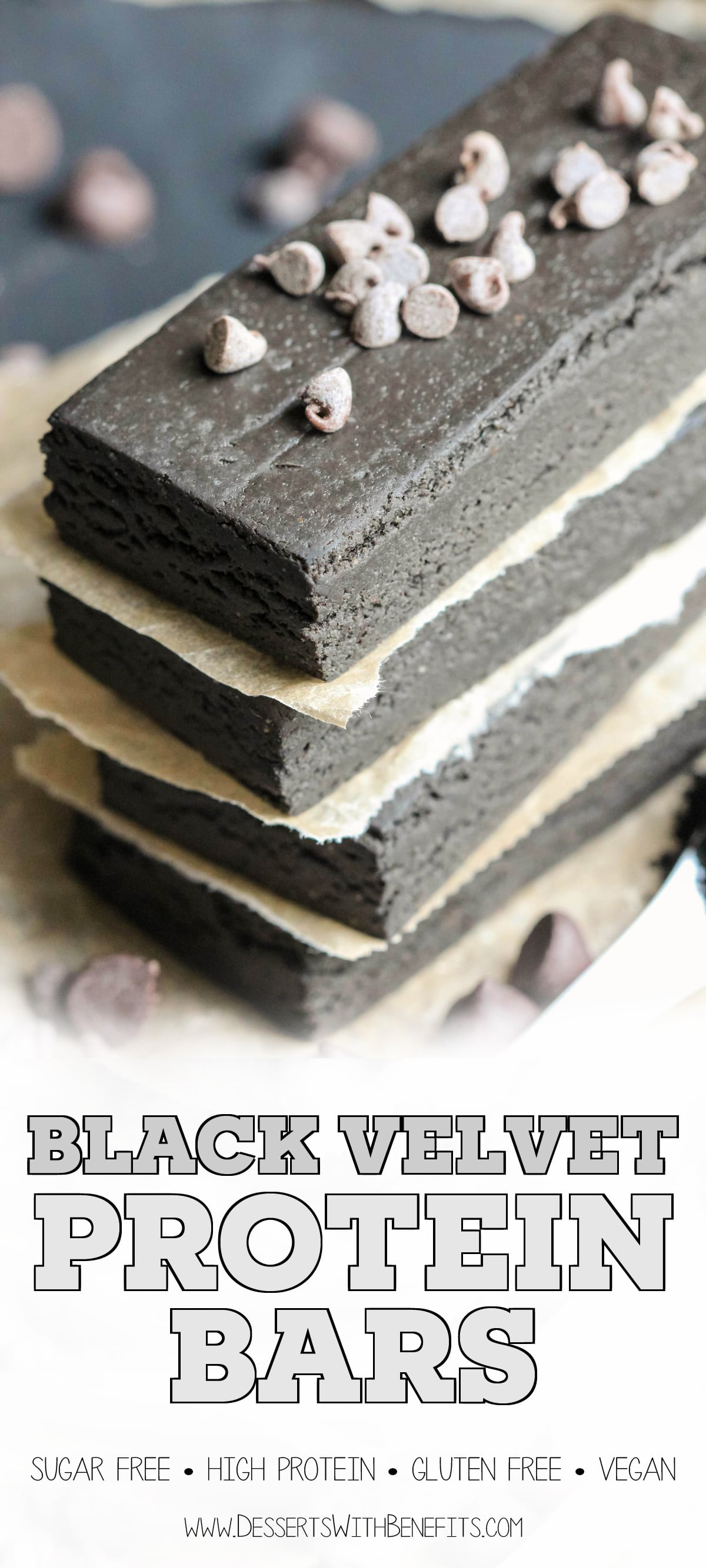 Black Velvet is just like red velvet, only black! These sweet, fudgy, chocolatey Healthy Black Velvet DIY Protein Bars are all natural, sugar free, high protein, gluten free, dairy free AND vegan, but you'd never know it. Can you guess the secret ingredient? -- Healthy Dessert Recipes with sugar free, low calorie, low fat, high protein, gluten free, dairy free, vegan, and raw options at the Desserts With Benefits Blog (www.DessertsWithBenefits.com)