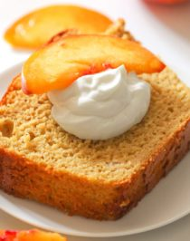Healthy Peach Olive Oil Pound Cake! Yes, olive oil in a dessert, and it works! This light cake is perfectly sweet and 100% satisfying. Made with whole wheat flour, Greek yogurt, fresh peaches, and organic extra virgin olive oil, and none of the butter, sugar, and white flour, but you'd never know it. Healthy Dessert Recipes with sugar free, low calorie, low fat, low carb, high protein, gluten free, dairy free, vegan, and raw options at the Desserts With Benefits Blog (www.DessertsWithBenefits.com)