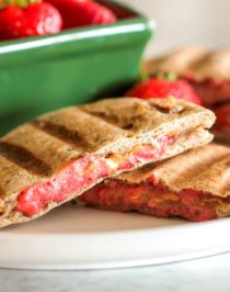 Step up your PB&J game with these 3-ingredient Healthy Peanut Butter & Jelly Paninis! Plus a recipe for Strawberry Chia Seed Spread. Your favorite childhood sandwich has been revamped to be not only healthier (vegan with no sugar added), but crisp on the outside, soft on the inside, providing comfort with every bite. Healthy Dessert Recipes with sugar free, low calorie, low fat, low carb, high protein, gluten free, dairy free, vegan, and raw options at the Desserts With Benefits Blog (www.DessertsWithBenefits.com)