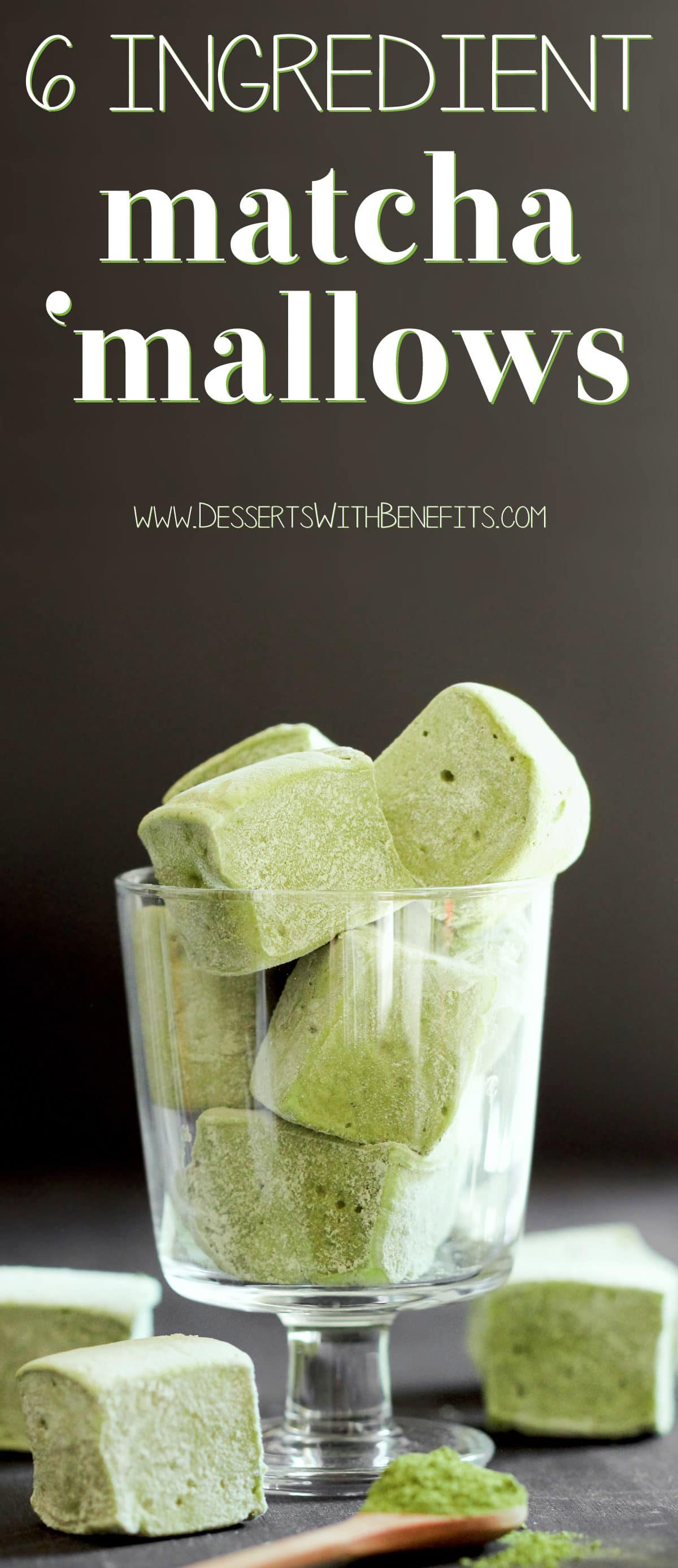 (How to Make Homemade Marshmallows) This recipe for super light and fluffy Healthy Matcha Green Tea Marshmallows is fun to make and has just 6 simple ingredients (with no high fructose corn syrup in sight)! Healthy Dessert Recipes with sugar free, low calorie, low fat, low carb, high protein, gluten free, dairy free, vegan, and raw options at the Desserts With Benefits Blog (www.DessertsWithBenefits.com)