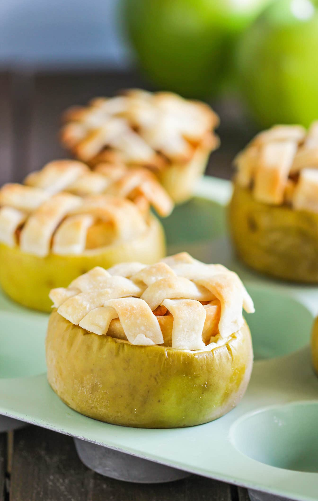 Healthy Apple Pies served IN THE APPLE! (low fat, low sugar, vegan)