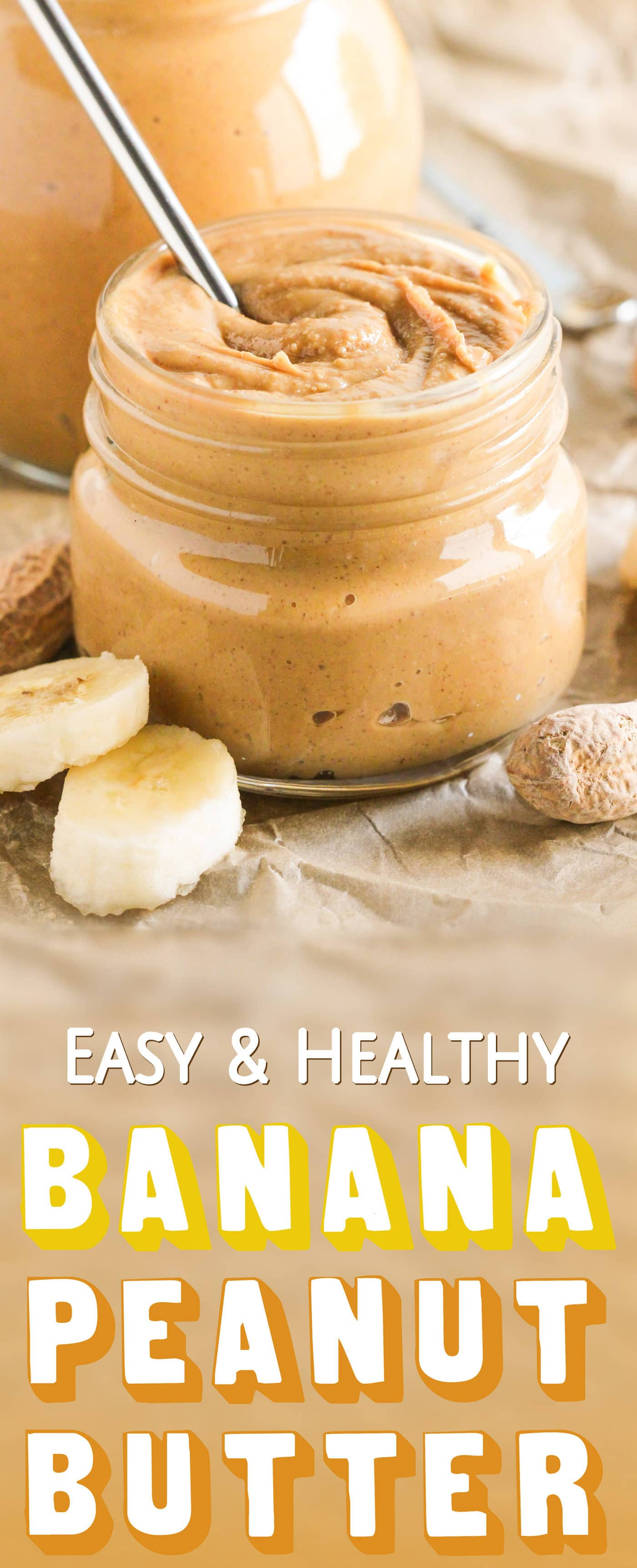 Healthy Homemade Banana Peanut Butter Spread! If you like bananas and if you like peanut butter, then you'll LOVE this. 100% delicious and perfect on toast, oatmeal, ice cream, or a spoon alone! No sugar added (refined sugar free), gluten free, vegan. Healthy Dessert Recipes with low calorie, low fat, low carb, high protein, dairy free, vegan, and raw options at the Desserts With Benefits Blog (www.DessertsWithBenefits.com)