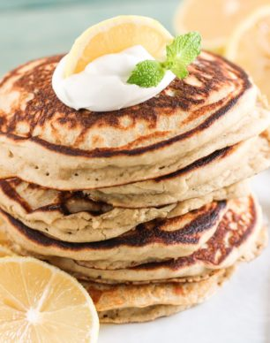 These Healthy Lemon Ricotta Buttermilk Pancakes are so fluffy and cakey and sweet and delicious, it's hard to believe that with every bite you take, you're indulging in sugar free, high protein, gluten free, and guilt free goodness! Healthy Dessert Recipes at the Desserts With Benefits Blog (www.DessertsWithBenefits.com)