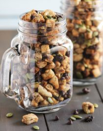 "Swap boring trail mix with this Healthy Muesli Trail Mix! It's a fun, nutritious snack filled with pumpkin seeds and baked ""muesli"" for crunch, soft and chewy raisins for sweetness, and mini chocolate chips for some decadence! (low sugar, dairy free, vegan) Healthy Dessert Recipes at the Desserts With Benefits Blog (www.DessertsWithBenefits.com)."