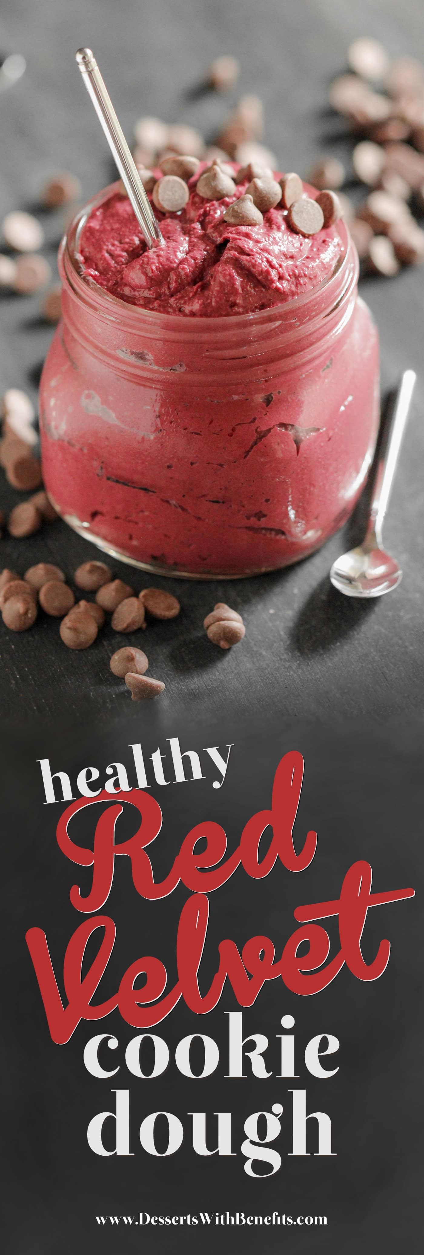 This Healthy Red Velvet Cookie Dough Dip is sweet, chocolatey, thick, fudgy, rich, and addictive. One spoonful and you'd never believe it's actually good for you. It's eggless (so it's safe to eat raw!), sugar free, high protein, whole grain, gluten free, dairy free, and vegan too! Healthy Dessert Recipes with low calorie, low fat, and low carb options at the Desserts With Benefits Blog (www.DessertsWithBenefits.com)