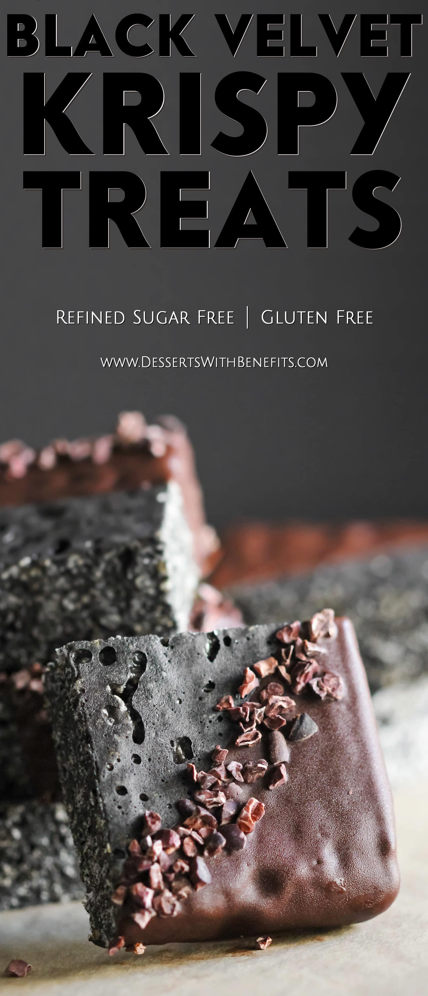 I bet you've never seen Krispy Treats like THESE before! These Healthy Black Velvet Krispy Treats are chewy, crunchy, sweet, and chocolatey. Flavored like your classic red velvet dessert with both vanilla and a hint of chocolate... only this one is black instead of red! Healthy Dessert Recipes at the Desserts With Benefits Blog