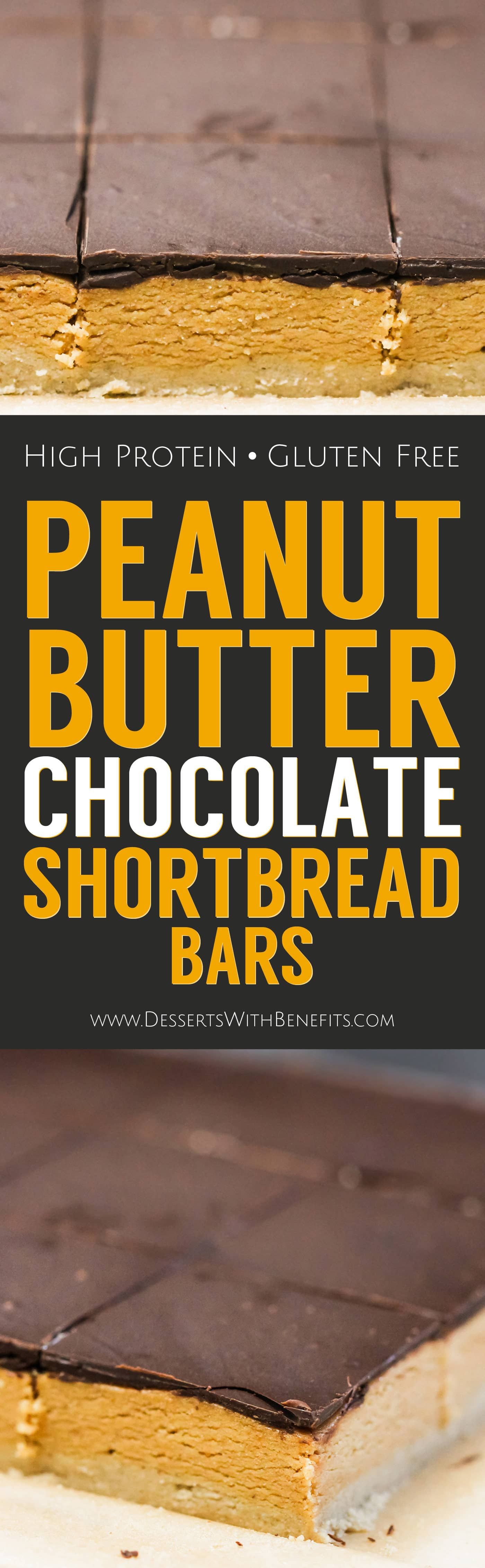 These no bake Healthy Peanut Butter Dark Chocolate Shortbread Bars are uber rich and decadent, it's hard to believe they're gluten free, refined sugar free, high protein, and super easy to make! Healthy Dessert Recipes at the Desserts With Benefits Blog (www.DessertsWithBenefits.com)