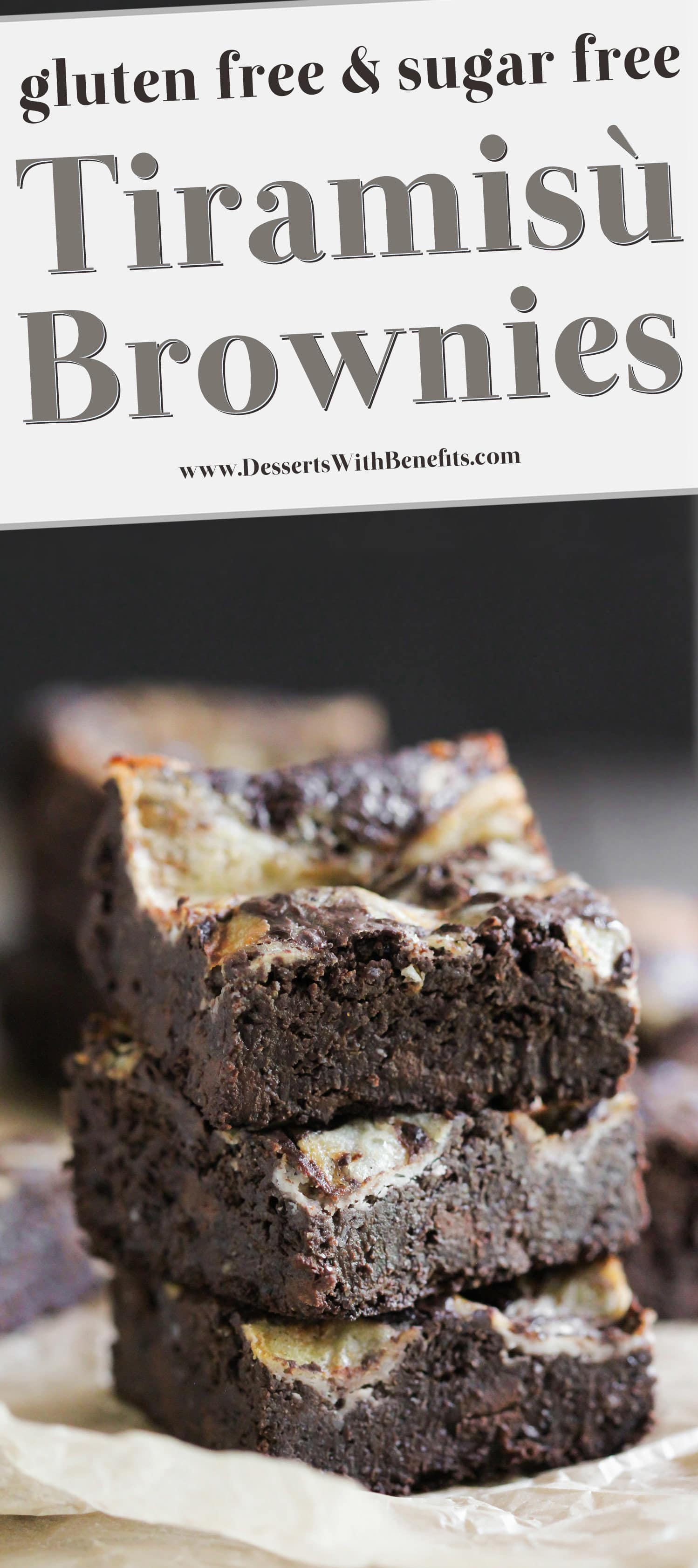 These Healthy Tiramisu Brownies are utterly LIFE-CHANGING. They're decadent, uber fudgy, and topped with a rich mascarpone swirl. These brownies have got the important Tiramisu components: coffee, mascarpone, rum. One bite and you'd never believe these are sugar free, high fiber, high protein, and gluten free too! Healthy Dessert Recipes at the Desserts With Benefits Blog (www.DessertsWithBenefits.com)