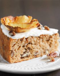 Hummingbird Cake is full of pineapple, banana, and pecans... and lots of calories and fat too. But NOT this one! This HEALTHY Hummingbird Cake so delicious, sweet, moist, and decadent, you'd never know it's lower calorie, lower fat, and lower sugar than the original. Healthy Dessert Recipes with sugar free, low calorie, low fat, low carb, high protein, gluten free, dairy free, and vegan options at the Desserts With Benefits Blog (www.DessertsWithBenefits.com)